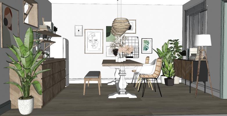 北欧风格家居餐厅 餐边柜 餐桌餐椅