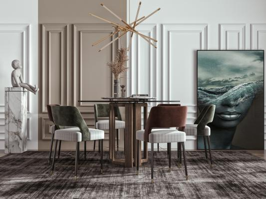 现代餐桌椅 圆形餐桌 吊灯