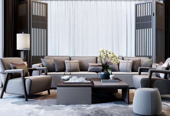 新中式沙发茶几 脚蹬 单人沙发
