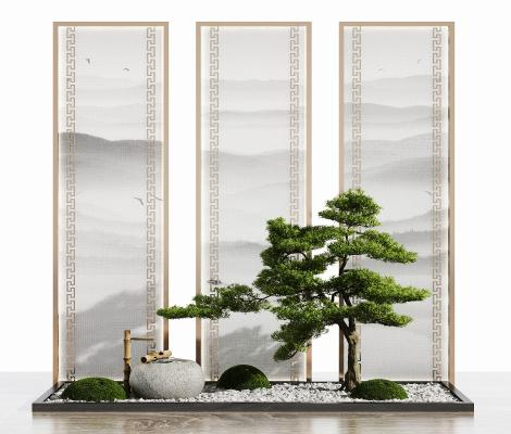 新中式假山水景 园艺小品隔断