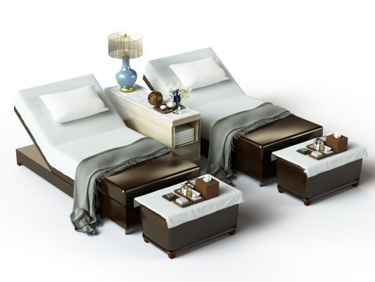 现代按摩床 搓背床 包厢床