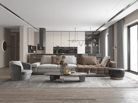 现代客厅 布艺沙发