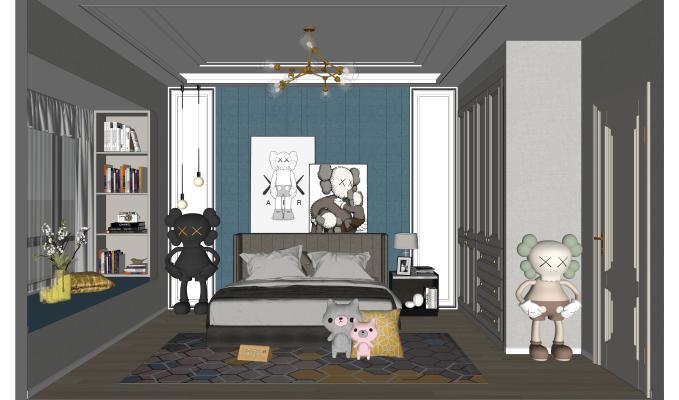 现代简约男孩房 卧室