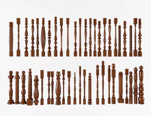 簡歐歐式美式實木樓梯護欄,立柱扶手