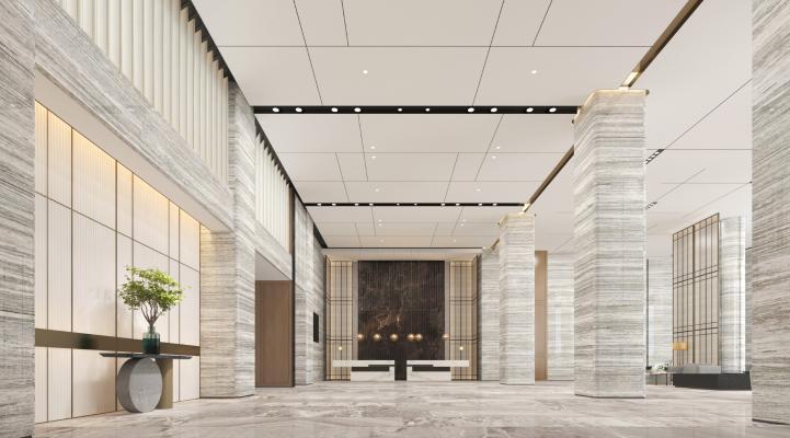 新中式售楼前台 洽谈处 吊灯 端景台