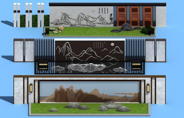 新中式景观墙 景墙 山水景墙