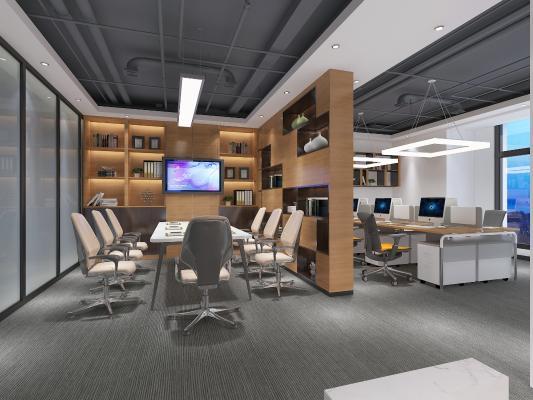 现代风格办公区 办公室 办公卡位