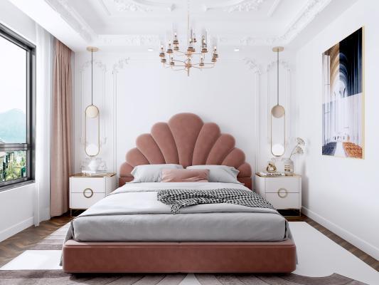 法式卧室 吊灯 地毯