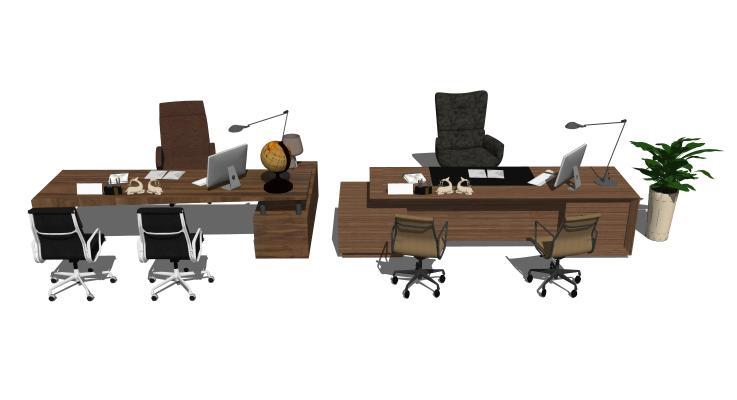 现代办公桌椅摆件组合
