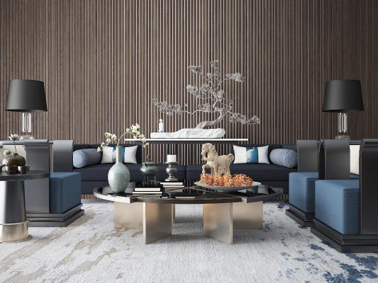 新中式沙发组合 双人沙发
