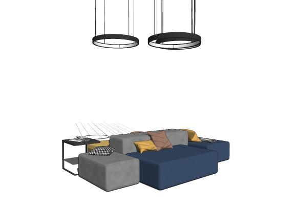 现代组合沙发 吊灯