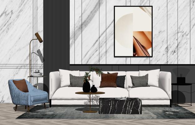 現代輕奢客廳 沙發茶幾組合