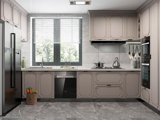 新中式厨房 橱柜 冰箱