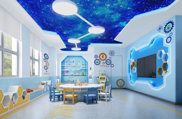 现代幼儿园科教室 实验室 造型柜 星空