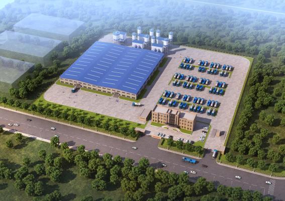 现代工业厂房 鸟瞰图