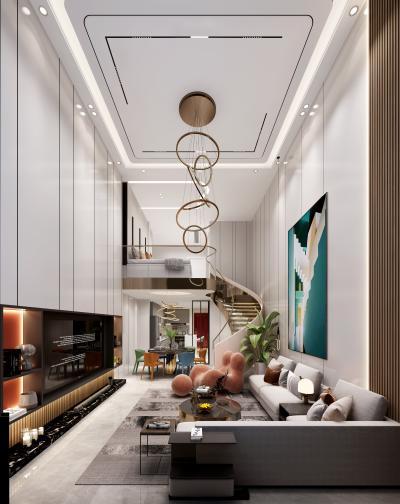 现代风格复式客厅