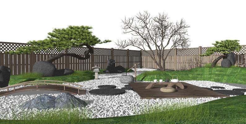 日式枯山水庭院景观 松树 石头