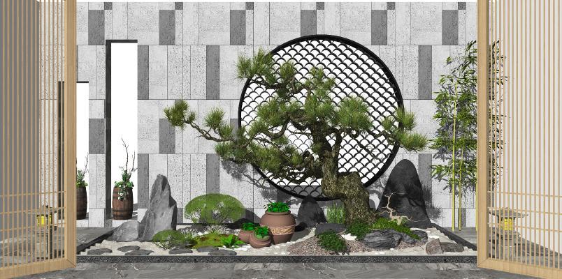 新中式庭院景观 景观小品 景观树