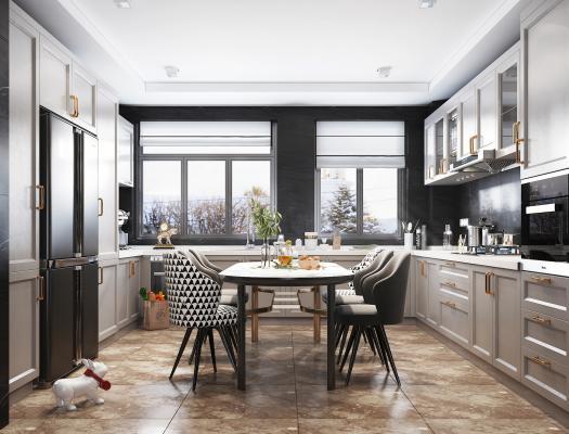 北欧风格开放式厨房 餐厅 厨房电器