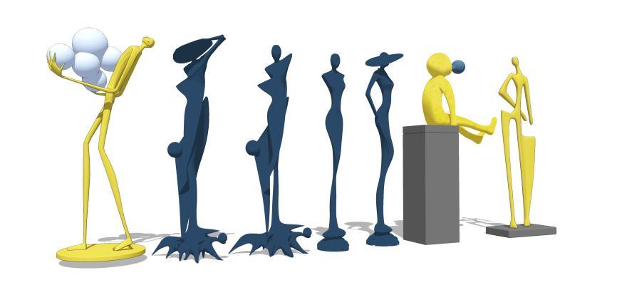 现代风格人形雕塑 饰品摆件 人物装饰摆件
