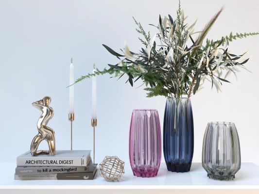 现代轻奢玻璃花瓶饰品摆设品 创意玻璃花瓶 台面桌面摆设摆件饰品