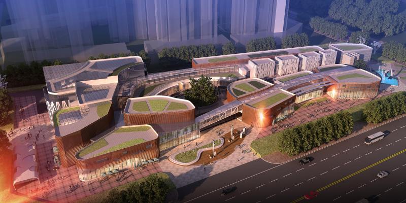 现代商业综合体 建筑外观鸟瞰