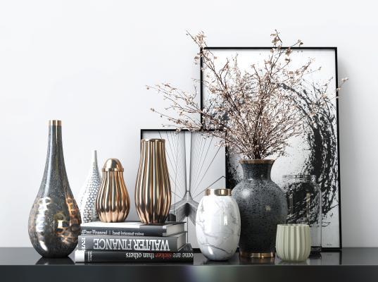 现代轻奢桌面台面摆设摆件饰品 桌面台面波浪金属花瓶书本装饰陈设品摆设摆件