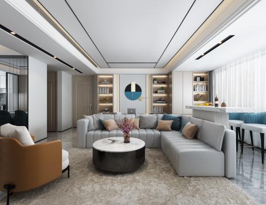 现代轻奢客餐厅 沙发 餐桌 书桌 书柜 地毯 窗帘 椅子