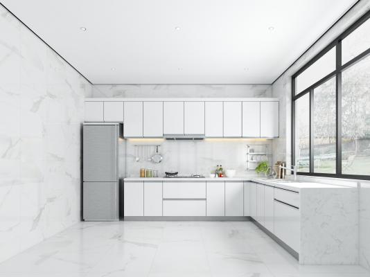 现代厨房 厨柜 冰箱