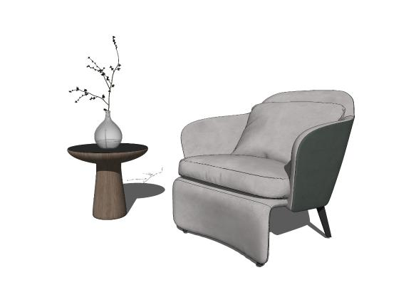 现代休闲椅 边几组合