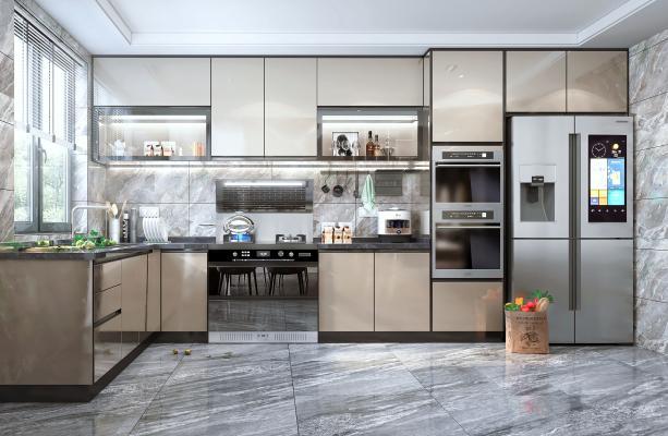 现代风格厨房橱柜 集成灶 蒸箱