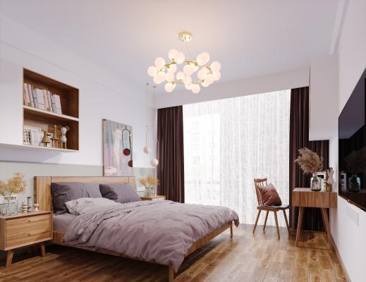 北欧风格卧室 书桌 书柜 椅子 床 床头柜 吊灯 挂画