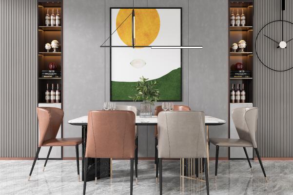 现代餐桌椅组合 吊灯 装饰挂画