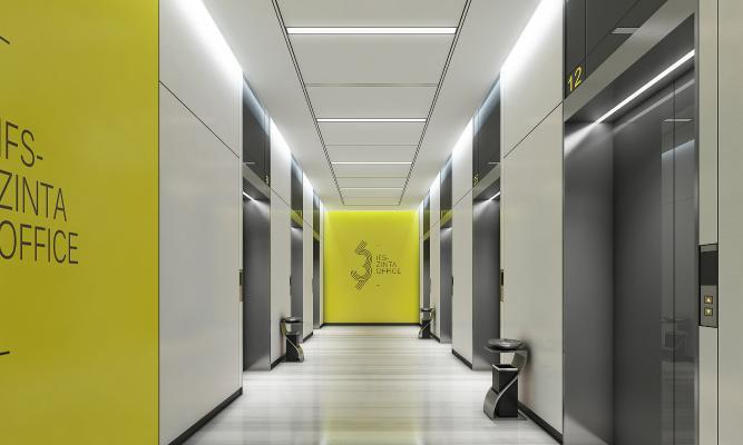 现代风格公司过道 电梯厅