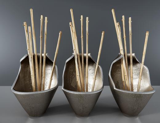 新中式風格瓦罐,罐子竹竿裝飾品 擺件