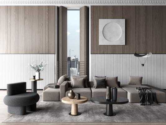现代风格客厅 沙发茶几组合