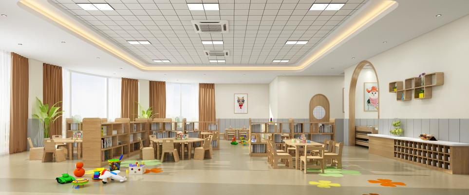 北欧幼儿园教室 书柜 桌椅