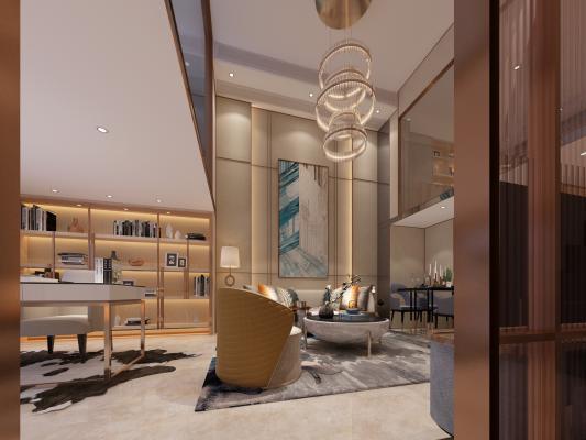 现代复式公寓客餐厅 卧室