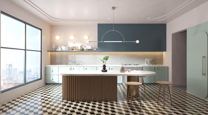 北欧厨房吧椅橱柜吊灯厨具吧台