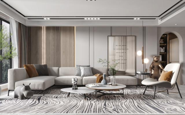 現代客廳,多人沙發,單人椅,茶幾,邊幾,吊燈,雕塑,掛畫,綠植