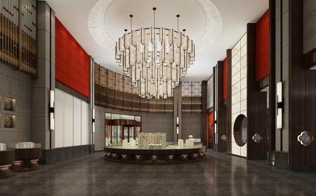 新中式展厅 售楼处 沙盘区 吊灯 沙盘