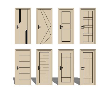 现代门卧室单开门组合