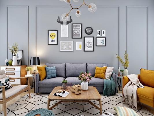 现代北欧沙发茶几边柜照片墙组合