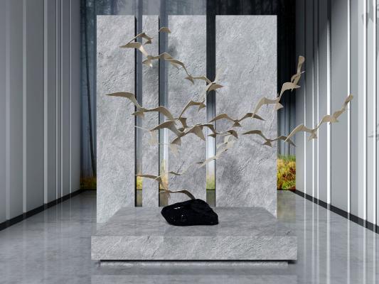 现代艺术大雁摆件 装饰品组合