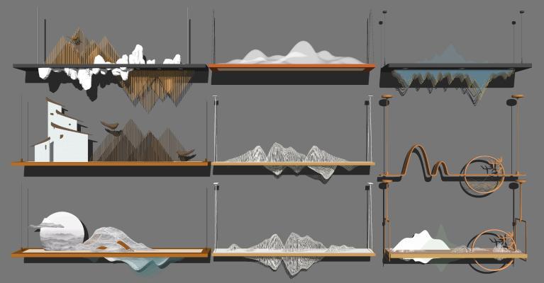 新中式山形吊灯组合 山脉线条吊灯 金属吊灯