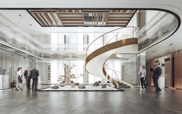 新中式酒店大堂 旋轉樓梯