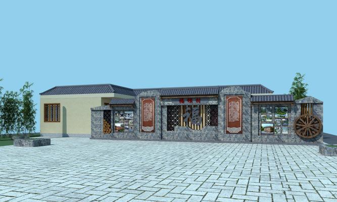 新中式乡村文化墙 景观墙