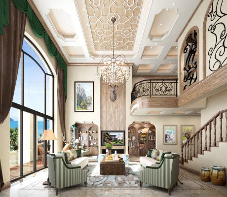 美式 别墅 客餐厅