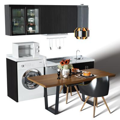 現代廚房櫥柜 餐桌椅組合 餐桌