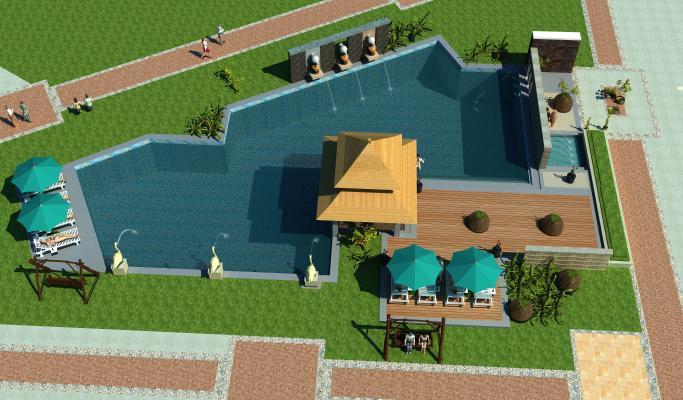 中式户外游泳池水上乐园 温泉人物 泳池伞座